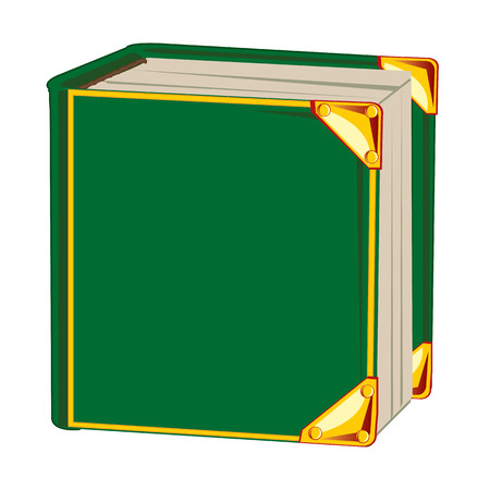 insulated: Book in green cover on white background is insulated
