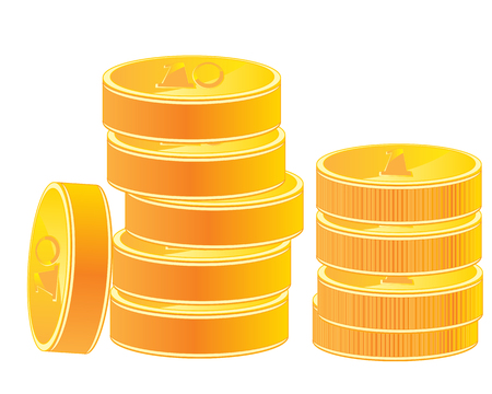 insulated: Much coins from gild on white background is insulated Illustration