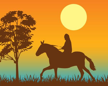 furlough: The Walk horseback on horse at night.Vector illustration