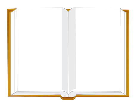 Openning book on white background is insulated
