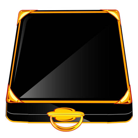 furlough: Black case with gold handle on white background Illustration