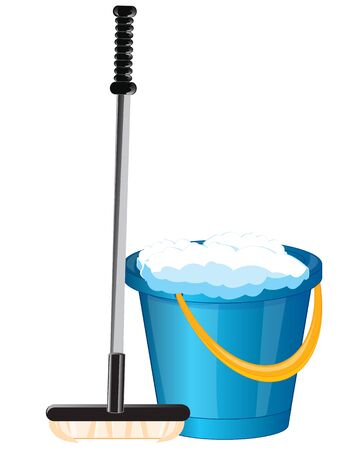 besom: Tools pail and mop on white background is insulated Illustration