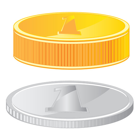 insulated: Two coins gold and metallic on white background is insulated Illustration