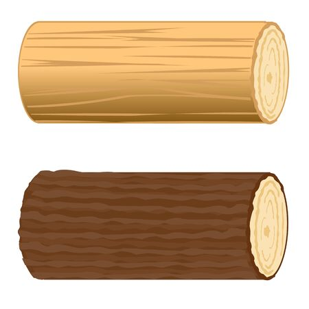 sawed: Two logs on white background is insulated.Vector illustration Illustration