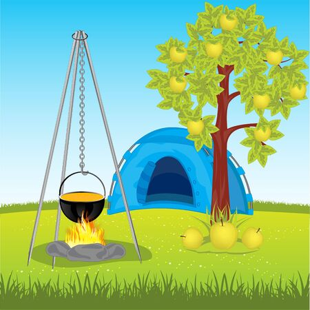 aple: Tent under aple tree and campfire on glade Illustration