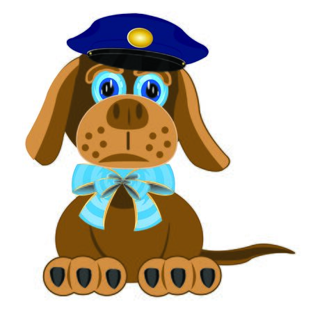 police dog: Dog with blue bow on neck and police service cap