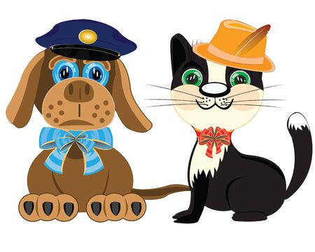 police dog: Dog police and cat in hat on white background is insulated