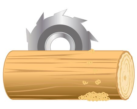sliced tree: Industrial processing log by disc saw.Vector illustration Illustration