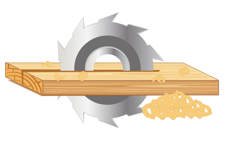 sliced tree: Industrial processing board  by disc saw.Vector illustration Illustration