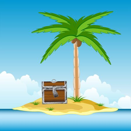 coffer: The Coffer with treasure on desert islands.Vector illustration