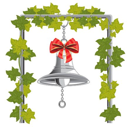 Bell with bow hungs on chain on white background is insulated Illustration
