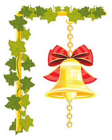gild: The Bell from gild hungs on chain.Vector illustration Stock Photo
