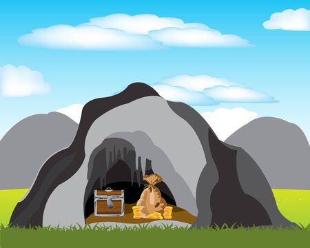coffer: The Bonanza hidden in cave in mountain.Vector illustration