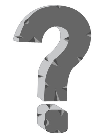 interrogativa: Signo interrogativo de piedra en el fondo blanco est� aislado