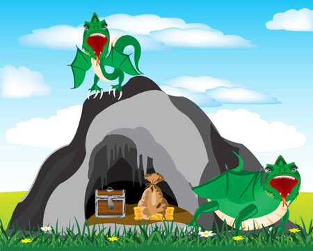 prehistorical: Cave in grief and dragons protecting bonanza Illustration