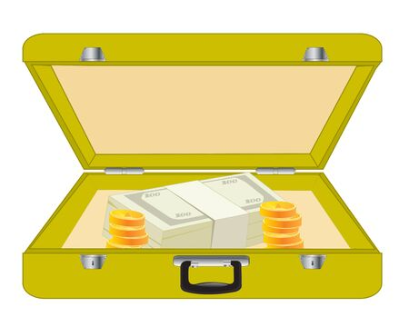 valise: Open valise with money on white background is insulated