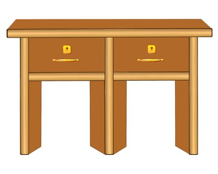 night table: Wooden table isolated illustration on white background