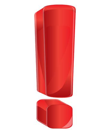 point exclamation: Point d'exclamation rouge sur fond blanc est isolé Illustration