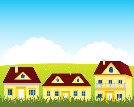 rural houses: Much rural houses on year glade.Vector illustration