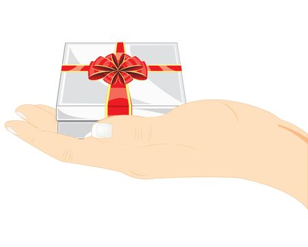 packing tape: Hand of the person with gift on white background is insulated
