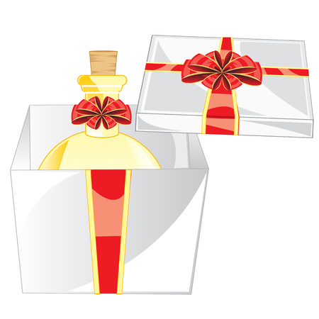 insulated: Gift box with spirit on white background is insulated Illustration
