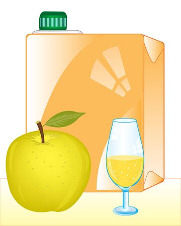 stopper: Packing of juice and apple with goblet on white background