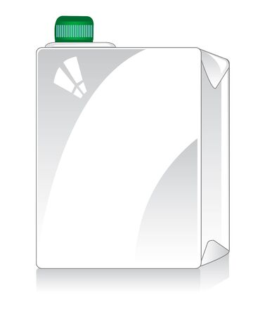 Square package for liquid on white background is insulated Illustration