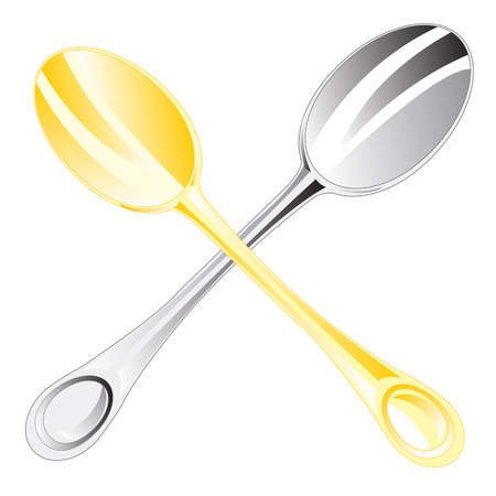 tearoom: Two table spoons on white background is insulated
