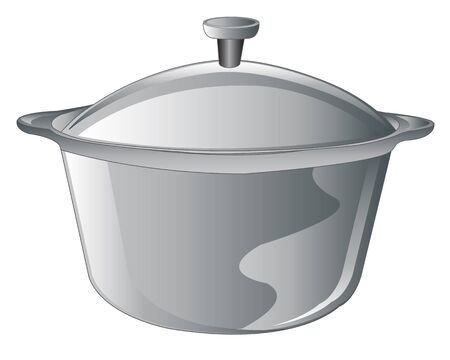 kitchen illustration: Saucepan for  prepareof meal on white background is insulated