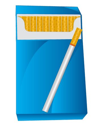 insulated: Blue pack with cigarette on white background is insulated