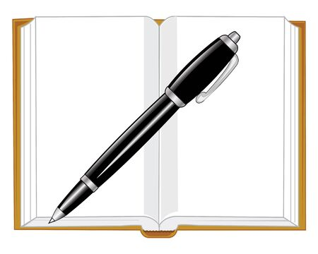 note pad: Open note pad and handle on white background is insulated
