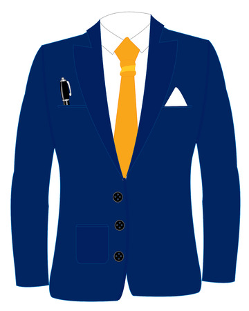 Blue suit with tie on white background is insulated Illustration