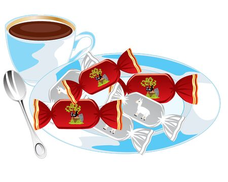 sweetmeats: Cup of hot tea and sweetmeats on saucer