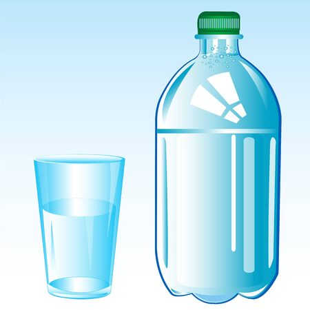 glass reflection: Mineral water and glass on white background