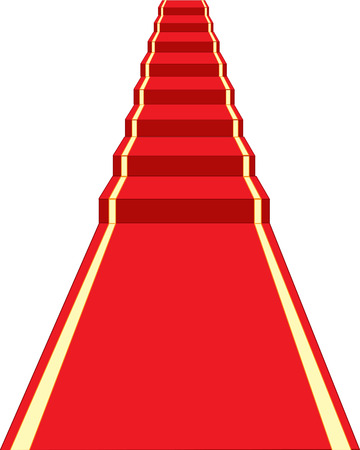Red track and stairway on white background is insulated Stock Illustratie
