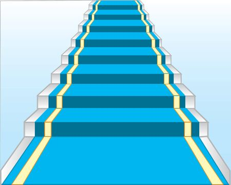 leaden: Paradnaya stairway with blue track.Vector illustration of the stairway Illustration