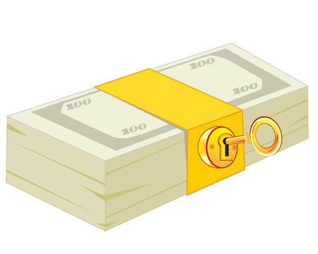 gild: Pack of the money closing on lock from gild Illustration