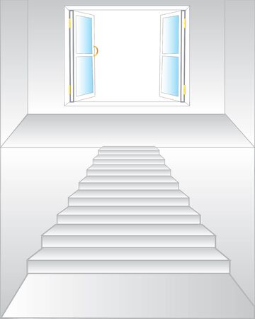 Stairway to open window on white background is insulated