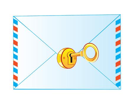 news letter: Postal envelope locked on lock from gild