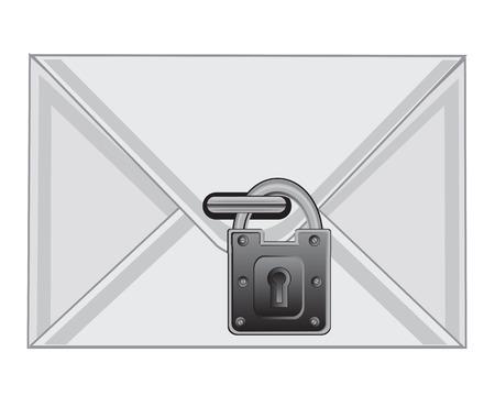 locked: The Postal envelope locked on lock.Vector illustration