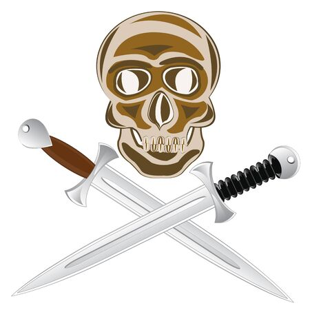 grieve: Two sword and skull of the person on white background is insulated. Illustration