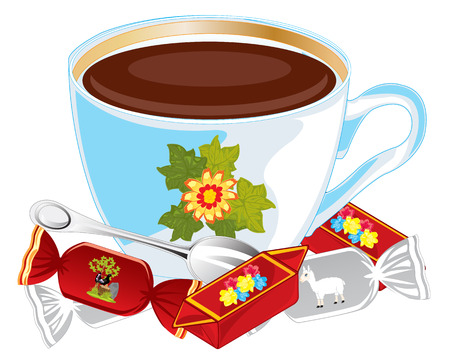 sweetmeats: Cup coffee and sweetmeats on white background is insulated