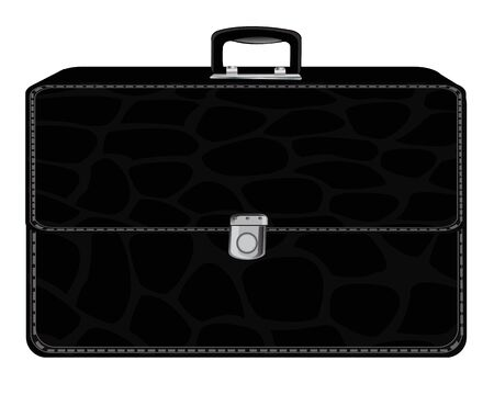 black briefcase: Black briefcase from skin on white background is insulated