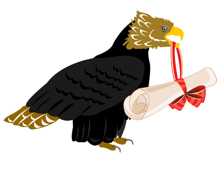 Eagle with paper retinue on white background insulated Ilustração