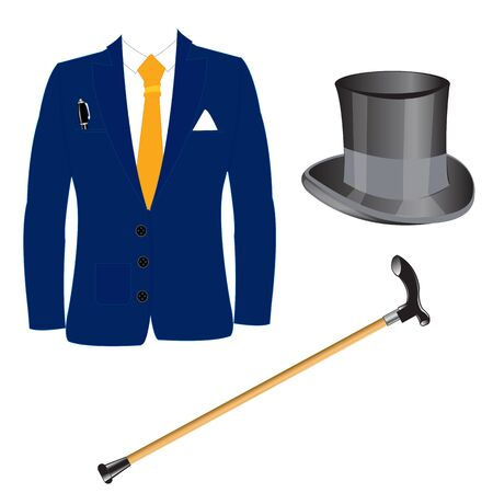 belongings: Suit and hat with walking stick on white background is insulated