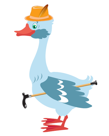 walking stick: Cartoon goose in hat with walking stick on white background