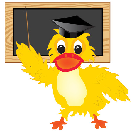 hubcap: Cartoon of the duck of the teacher beside boards with pick device