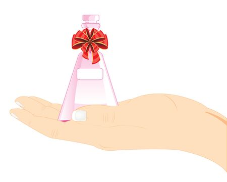 possibility: The Decorative vial spirit in feminine hand.Vector illustration