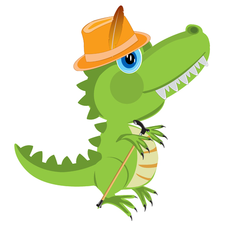 prehistorical: Dinosaur in hat and with walking stick on white background is insulated