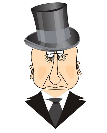 insulated: Man in hat and with tie on white background is insulated Illustration